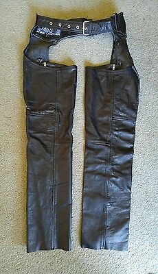 Vintage Shaf Leather Women's Black Leather Chaps Size XS Motorcycle Biker