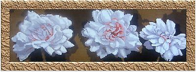 White Flowers Panorama, handmade embroidery for wall or pillow slip