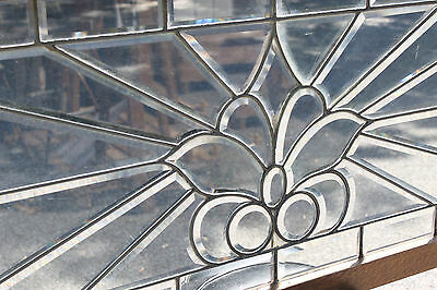 c.1900 Architectural Antique Leaded Beveled Clear Stained Glass Window Oak Frame