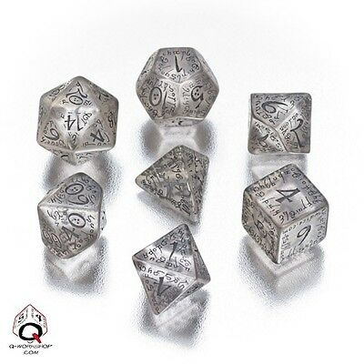 Elvish Dice Set Transparent/Black (7) QWS SELV10