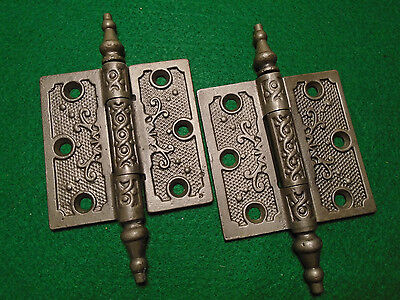 "Pair Vintage Eastlake Hinges  3""  X 3""  Steeple Top - Beautiful  (6462)"