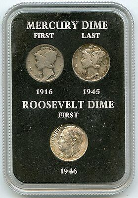 1916 - 1946 Silver Dime Coin Set - First & Last Mercury Roosevelt - AG825