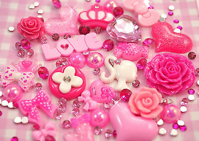 100pc 'In The Pink' Set Resin Cabochon Set DIY Decoden Kawaii Kitsch UK SELLER!