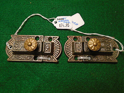PAIR MATCHING VICTORIAN EASTLAKE CABINET LATCHES w/ KEEPERS BEAUTIFUL (6465)