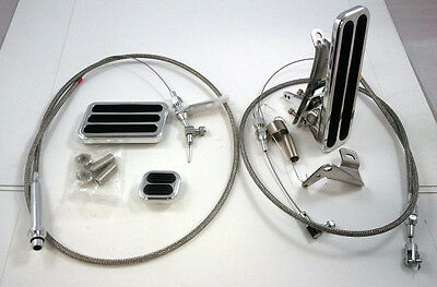 Billet Floor Mount Throttle / Gas Pedal Kit W/ Braided Cable & 700R4 Kick Down