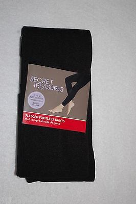 28276884eed6b Womens FLEECED FOOTLESS BLACK TIGHTS Secret Treasures SIZE A/B 155-235 Lbs