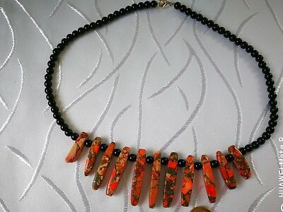 00202  HEART HEALING Agate n Sea Sediment Gemstone Infused Necklace REDUCED
