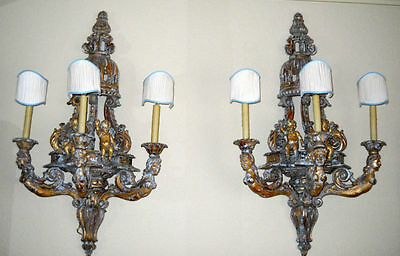 Pair of 18th Century Wood French Cherub Wall Sconce Candleabras