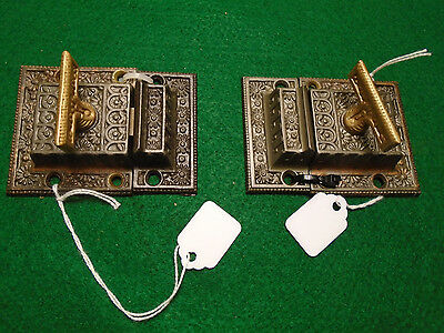 PAIR MATCHING VICTORIAN EASTLAKE CABINET LATCHES w/ KEEPERS BEAUTIFUL (6464)