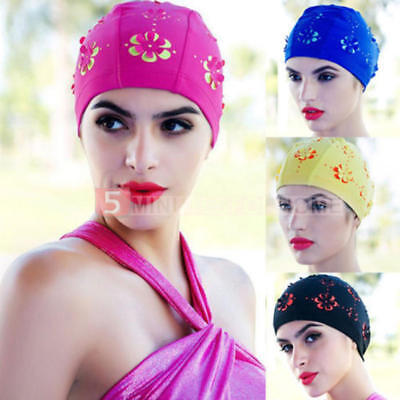 New Ladies Retro Style Flower Floral Hollow Swimming Hat Long Hair Bathing Caps