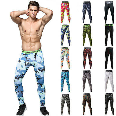 Mens Compression Pants Tights Trousers Jogger Fitness Skinny Clothing Camo Style