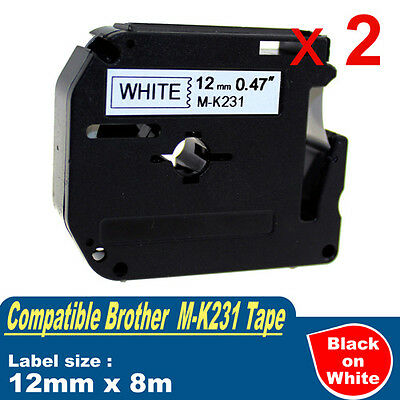2x Compatible P-Touch MK Tape 12mm for Brother M-K231 Black on White PT-70 PT-80