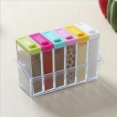 1set /6 Spice Shaker Seasoning Bottle Jar Condiment Storage Container for
