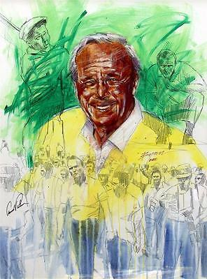 Signed Arnold Palmer Mixed Media Acrylic on Canvas Painting by Michael Bryan