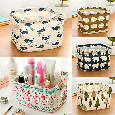 Cute Home Household Storage Box Linen Desk Organizer Cube Bins Basket Container