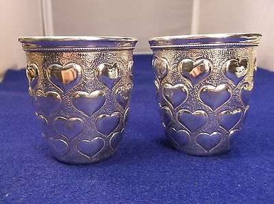 "Heavy Pair Of Rare Vtg ""900"" Sterling Silver Egyptian Drinking Cups, With Hearts"