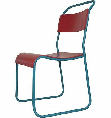 Canteen Vintage Dining Chair, Red & Marine Blue