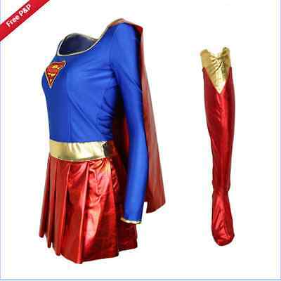 Costume Supergirl Superhero Fantaisie Halloween Superwoman Lady Outfit Adulte