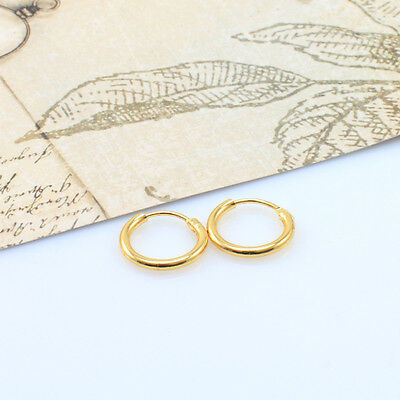 18K Gold Filled Men/Women Hoop Sleeper Earrings 10 mm Hinged