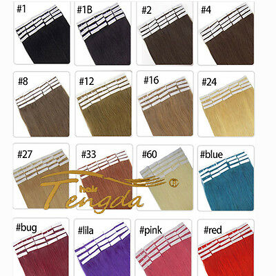 """Women Colorful 16""""-24"""" PU Tape in 100% Straight Remy Human Hair Extensions 20pcs"""