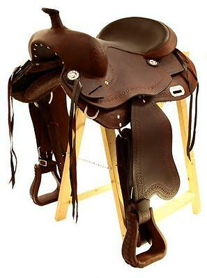 Treeless Western Saddle Omaha, Brown, Full Quarter, New, Oiled Leather