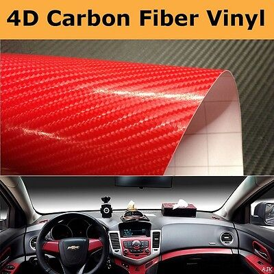 4D Red Gloss Air free Carbon Fibre Vinyl Wrapping Car Phone 300mm x 1520mm
