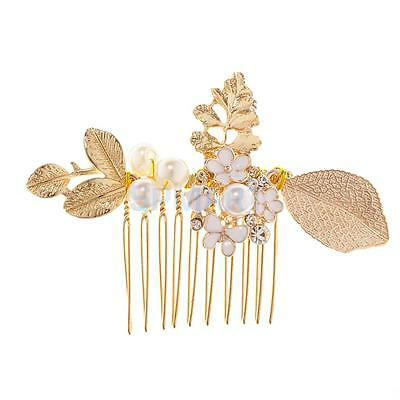 Gold Leaves Bridal Hair Comb Clip Crystal Pearl Flower Wedding Headpiece