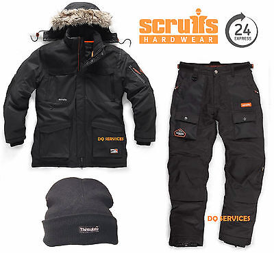 Scruffs Thermo Parka Jacket & Expedition Thermo Padded Thermal Trousers Free Hat