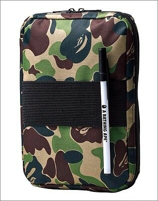 A Bathing Ape Bape Green Camo Travel ID Document Holder Organizer Hand Bag Purse