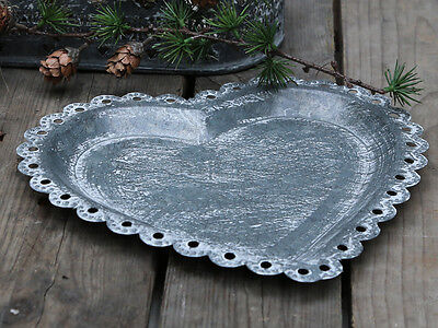 Heart French Vintage Style Tea Light Holder Dressing Table Tray Candle Plate