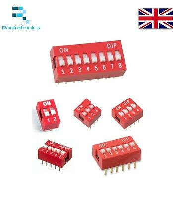 1/2/3/4/5/6/8 Way ON/OFF DIL DIP Switch PCB Toggle Snap Switches - Free Postage