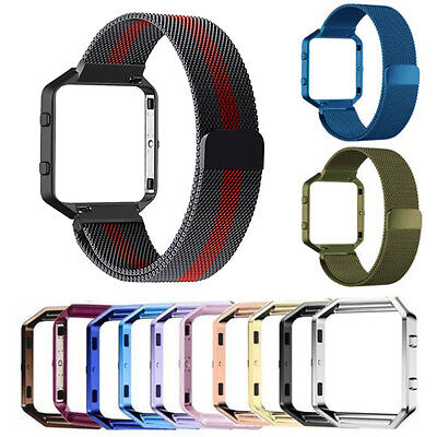 Milanese Stainless Steel Loop Strap Wrist band Metal Frame For Fitbit Blaze