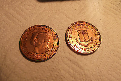 "1979 EQUATORIAL GUINEA 2,000 BiPKwele cu PRUEBAS ""ROYAL COUPLE"" PATTERN LOT # 12"