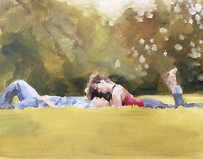 Couple Art Print 8 x 10 inches from Original Oil Painting by J Coates - signed