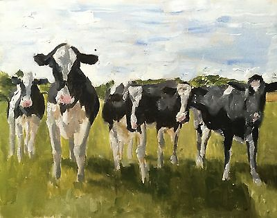 Cows Art Print 8 x 10 inches from Original Oil Painting by James Coates - signed