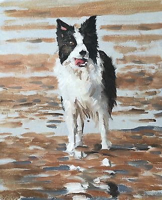 Beach Dog Art Print 8 x 10 inch from Original Oil Painting by J Coates - signed