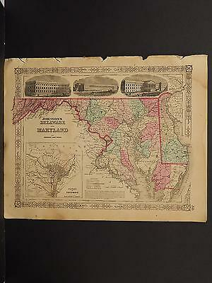 Johnson's Maps, 1864 United States, Delaware, Maryland O3#80