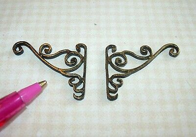 Miniature Pair of Fancy Antique Gold Wall Brackets #1 DOLLHOUSE 1/12 Scale
