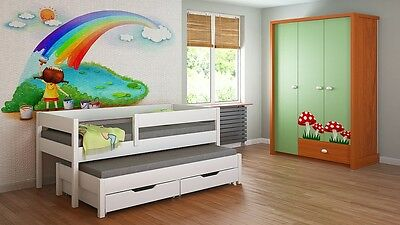 Kids Children Juniors Trundle Bed+Mattress 140x70/160x80/180x80/180x90/200x90