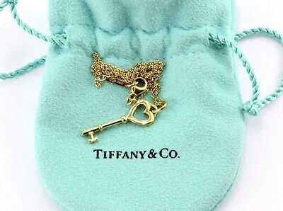Tiffany & Co. 18k Yellow Gold Heart Key Pendant And Necklace