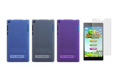 """TPU Gel Skin Cover Case and Screen Protector for Lenovo Tab3 7"""" 730F Tablet"""
