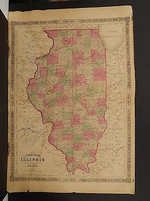 Johnson's Maps, 1864, United States, Illinois O3#98
