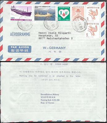South Korea Aerogramme Letter Cover to Germany 1981. Ships Squirrel stamps