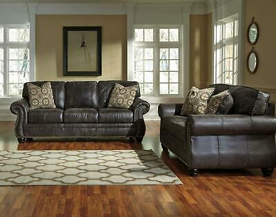 Ashley Breville Living Room Set 2pcs in Charcoal Faux Leather Traditional Style