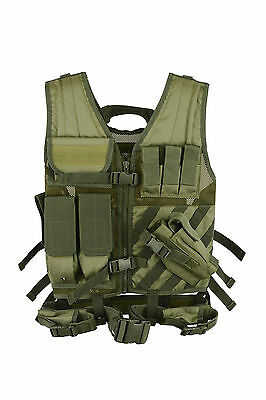 KYB OLIVE SWAT Airsoft Tactical VEST Military Army Assault Vest Pouches Rig Top