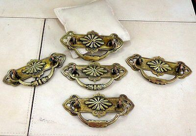 5 Antique Vintage Salvaged Victorian Brass Drawer Desk Pull Handle Handles Old