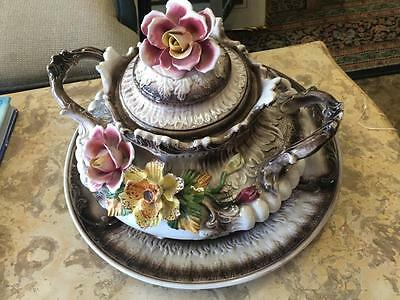 A Beautiful Vintage Capodimonte Lidded Tureen And Platter ..made In Italy