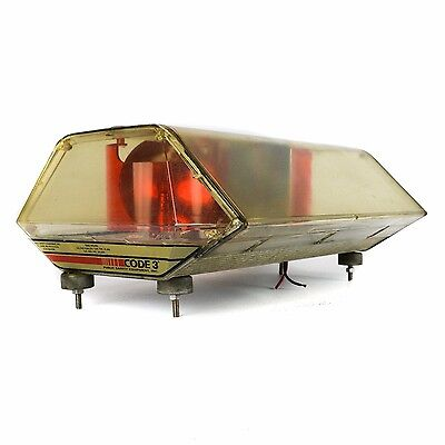 Code 3 Mini Light Bar Rotating Red Clear Permanent Emergency Roof Light