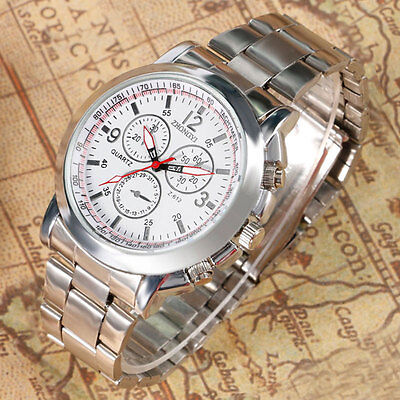 New Casual Luxury Men's Stainless Steel Band Round Dial Quartz Wrist Watch Gift