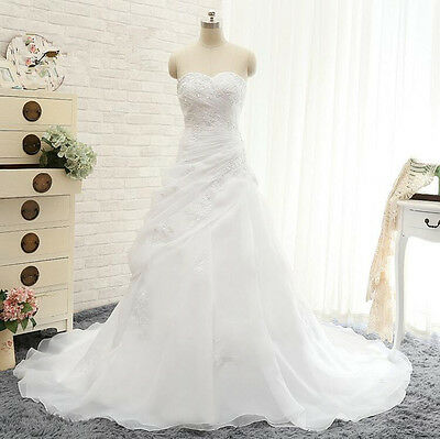 New Lace Bridal Gown Ball Wedding Dress White/Ivory Custom Size 4 6 8 10 12 14++